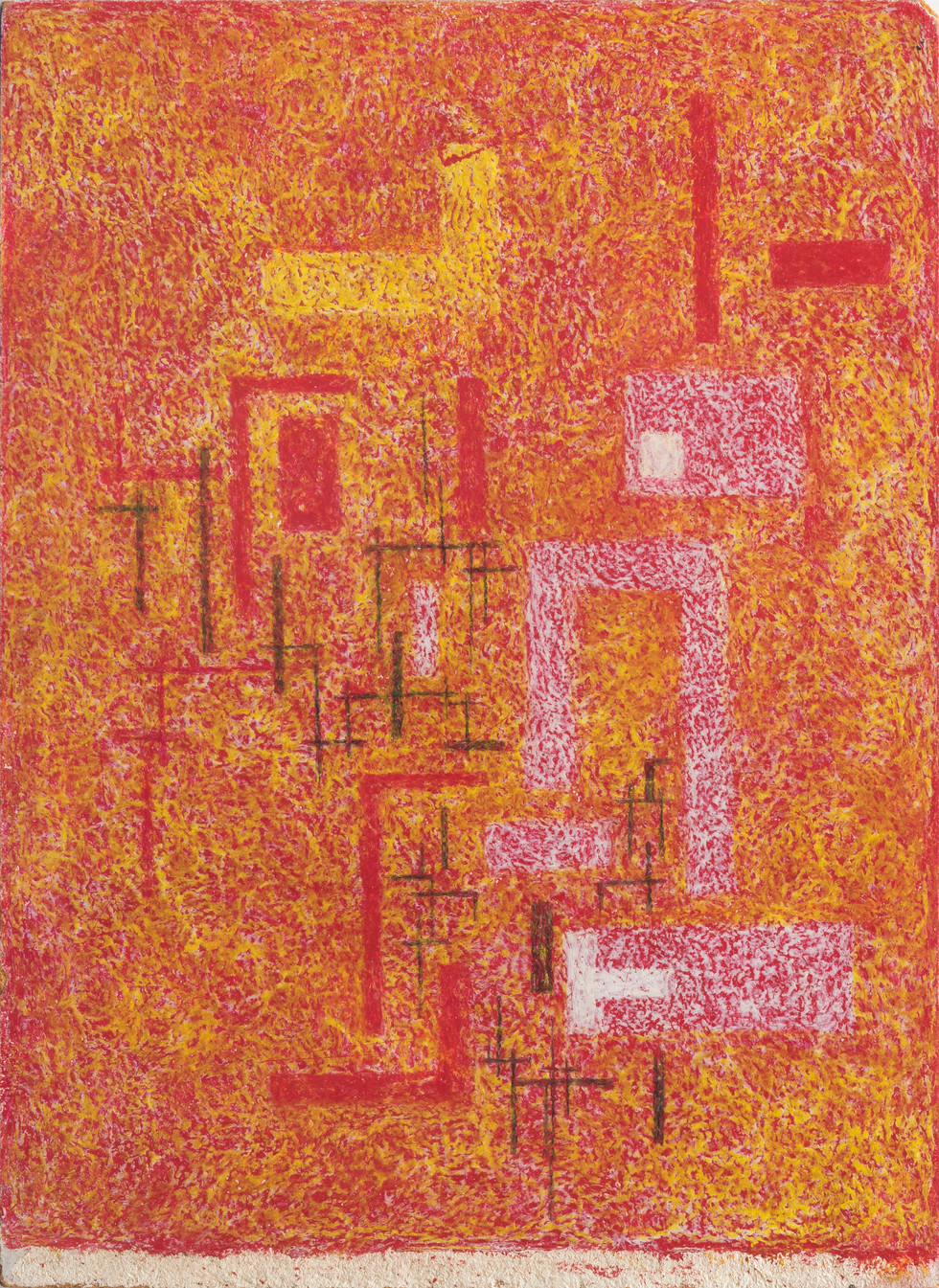 Untitled - red, yellow and white blocks on yellow and red background, white stripe on bottom (front)