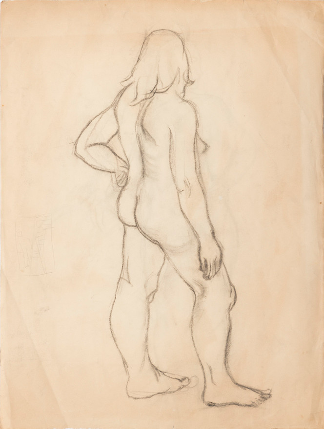 Untitled sketch - nude female figure standing with a round object and the back of the figure (back)