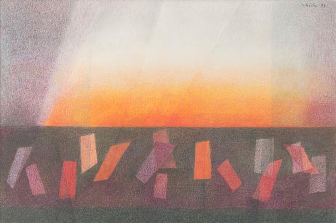 Untitled - orange, purple and red rectangles with orange horizon