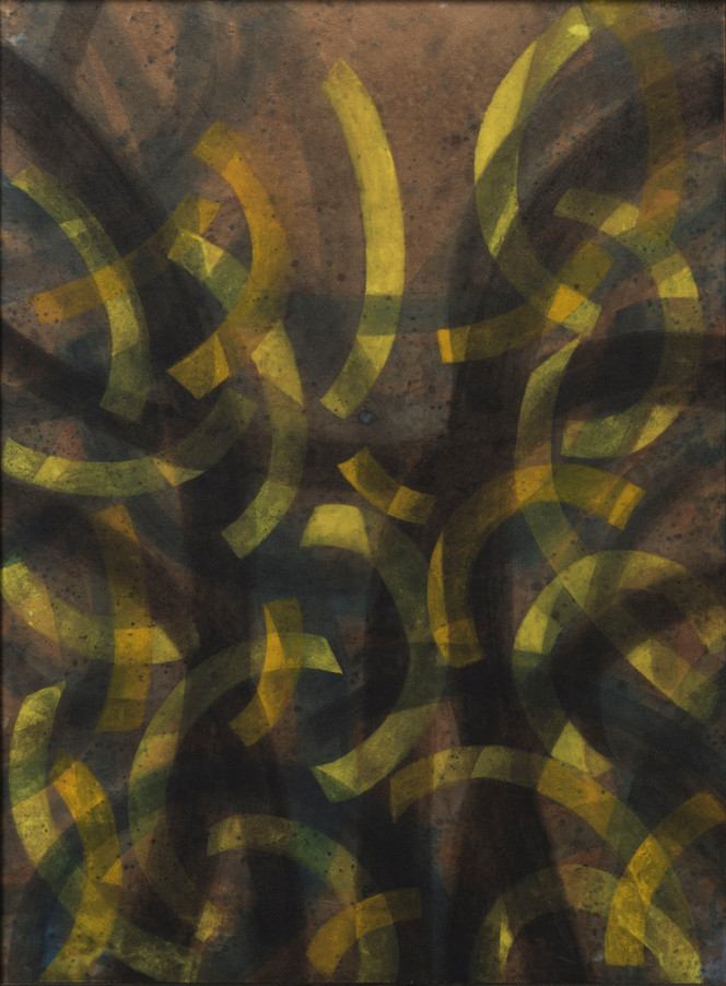 Untitled - brown background with yellow curves