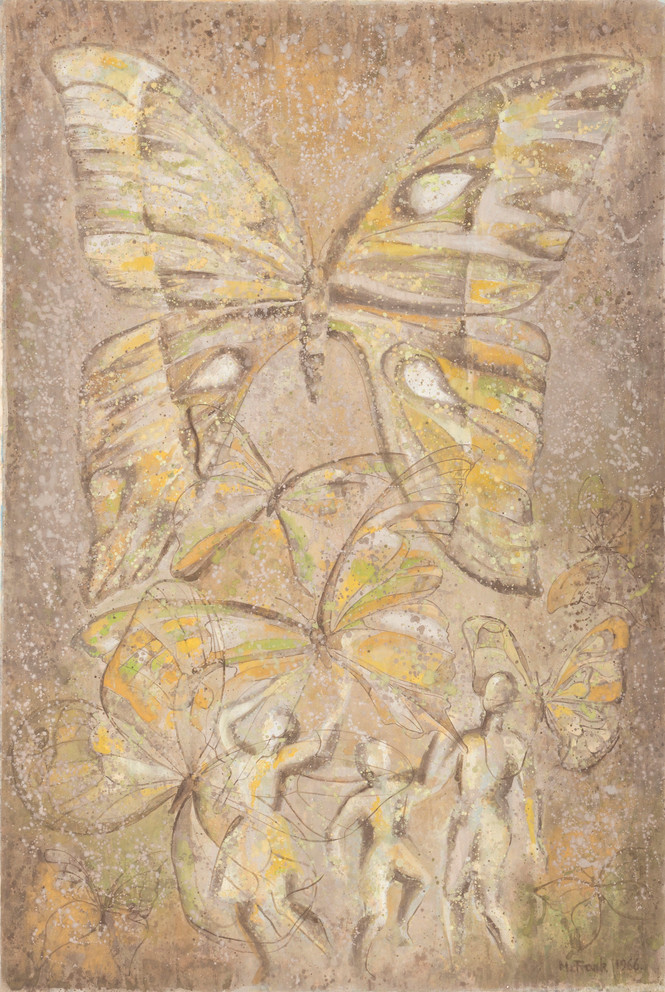 Untitled - butterflies with three figures on bottom