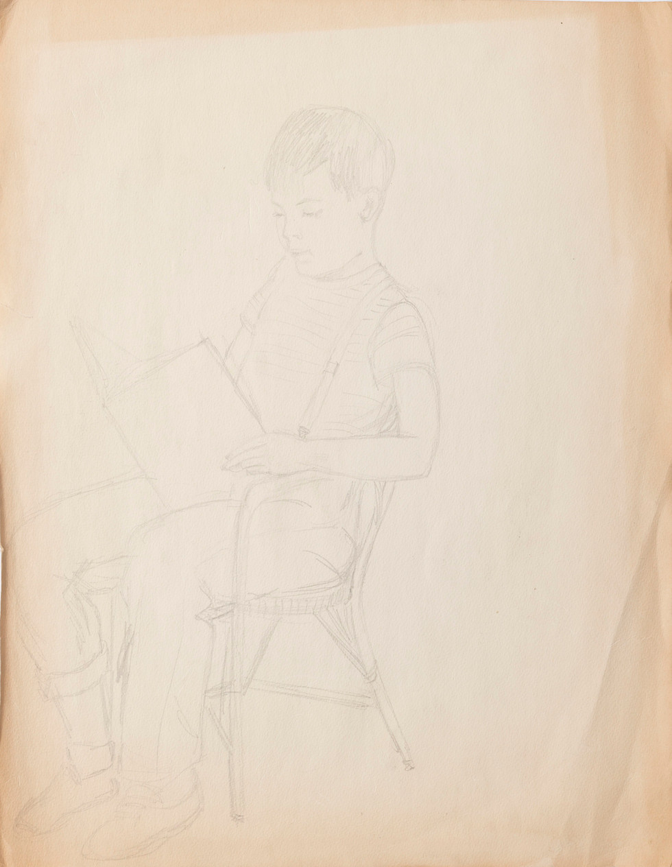Untitled sketch - boy reading in chair and four women in dresses (front)