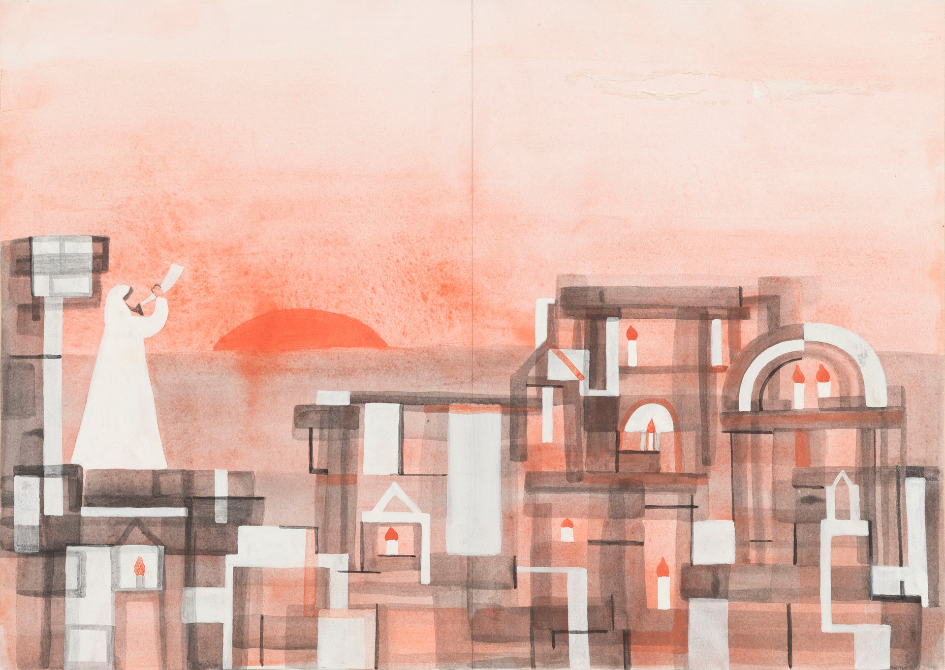 Untitled illustration - man in white gown blowing shofar at sunrise/set (2)