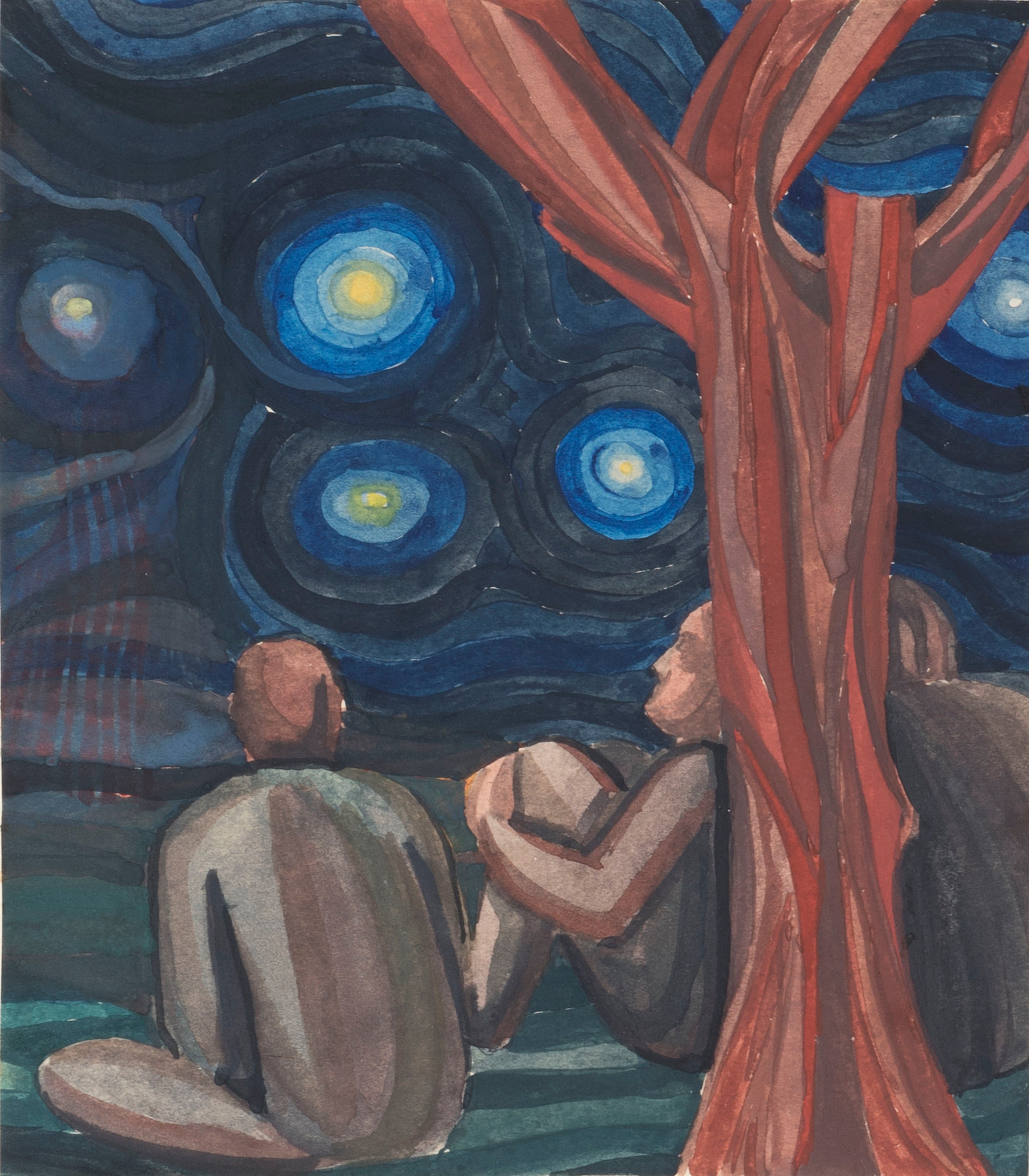 Charles Morgan: The Voyage: men sitting next to tree looking into starry sky