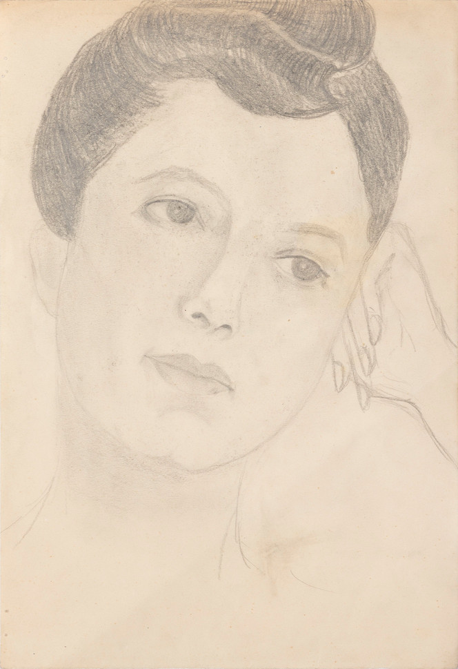 Untitled - portrait of woman with hand against head