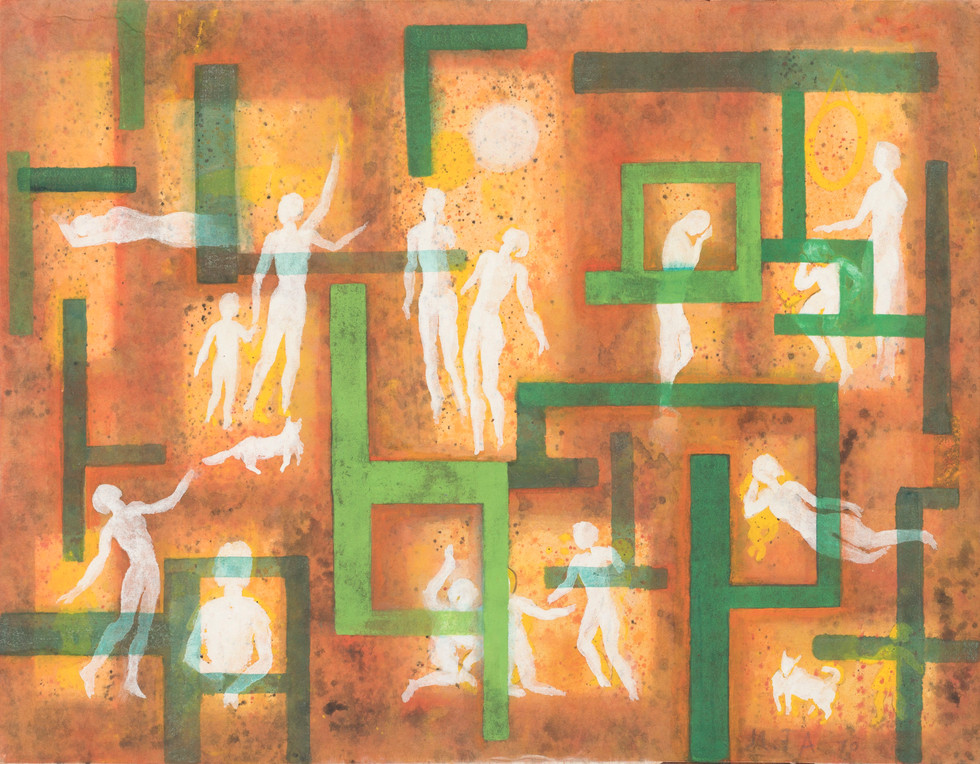Untitled - white figures and cats in green maze, orange background