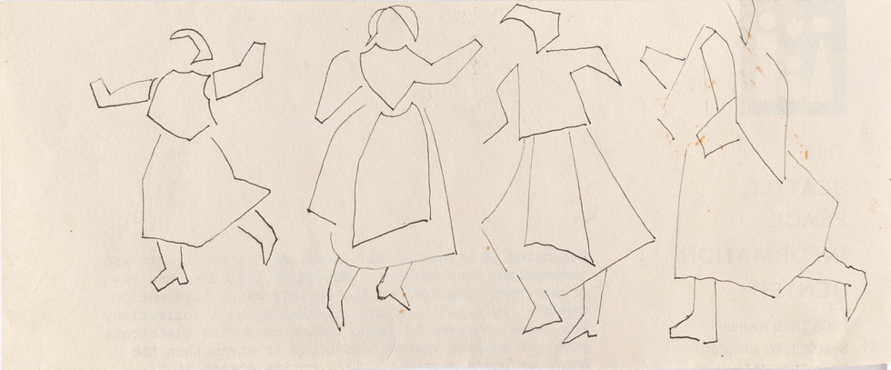 Untitled sketch - four women dancing in dresses