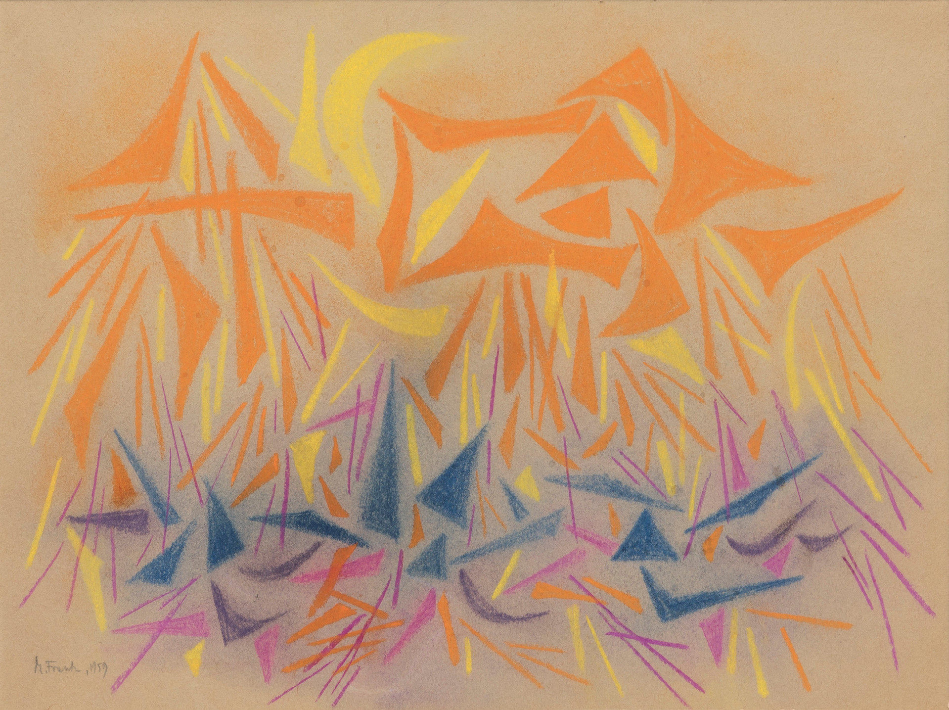 Untitled - orange, yellow and blue shapes, pink lines