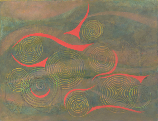 Untitled - yellow and red spirals on green background