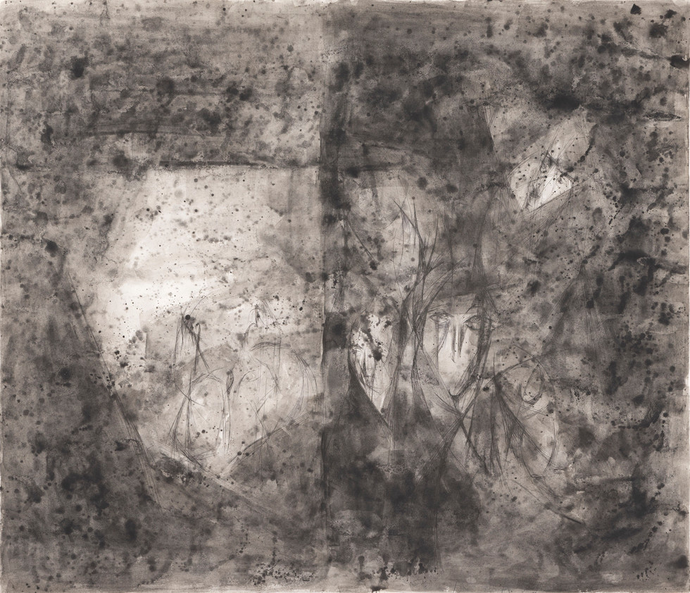 Untitled - abstract faces on dark gray background
