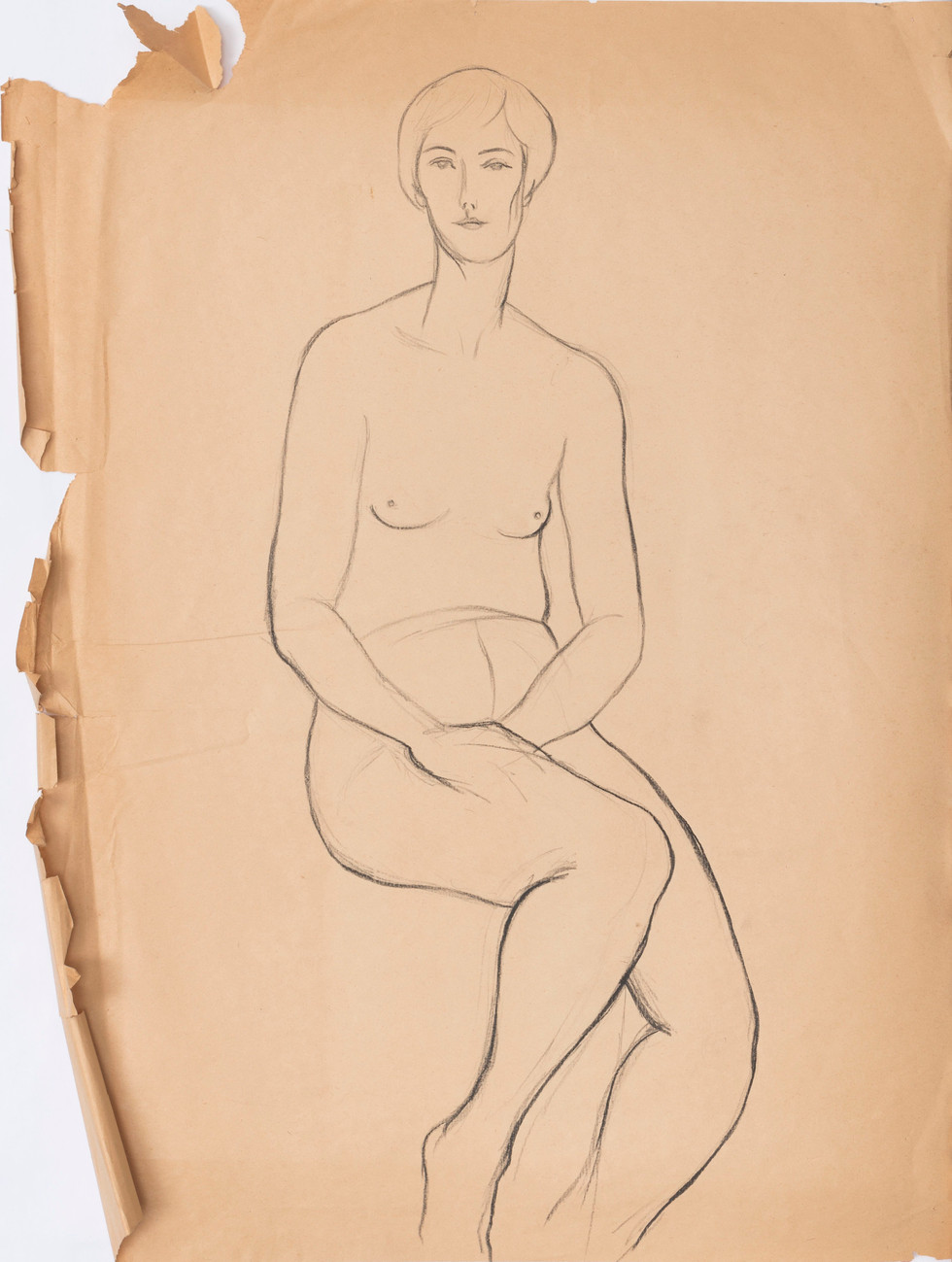 Untitled sketch - nude female figure sitting