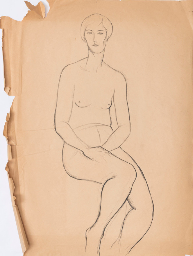 Untitled sketch - nude female figure sitting