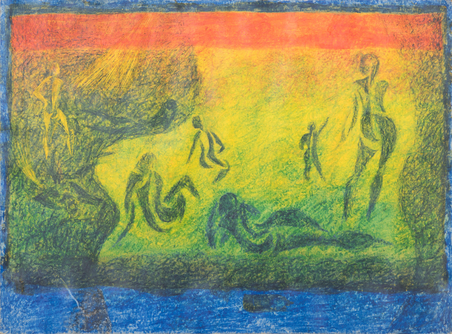 Untitled - abstract blue figures on rainbow color background