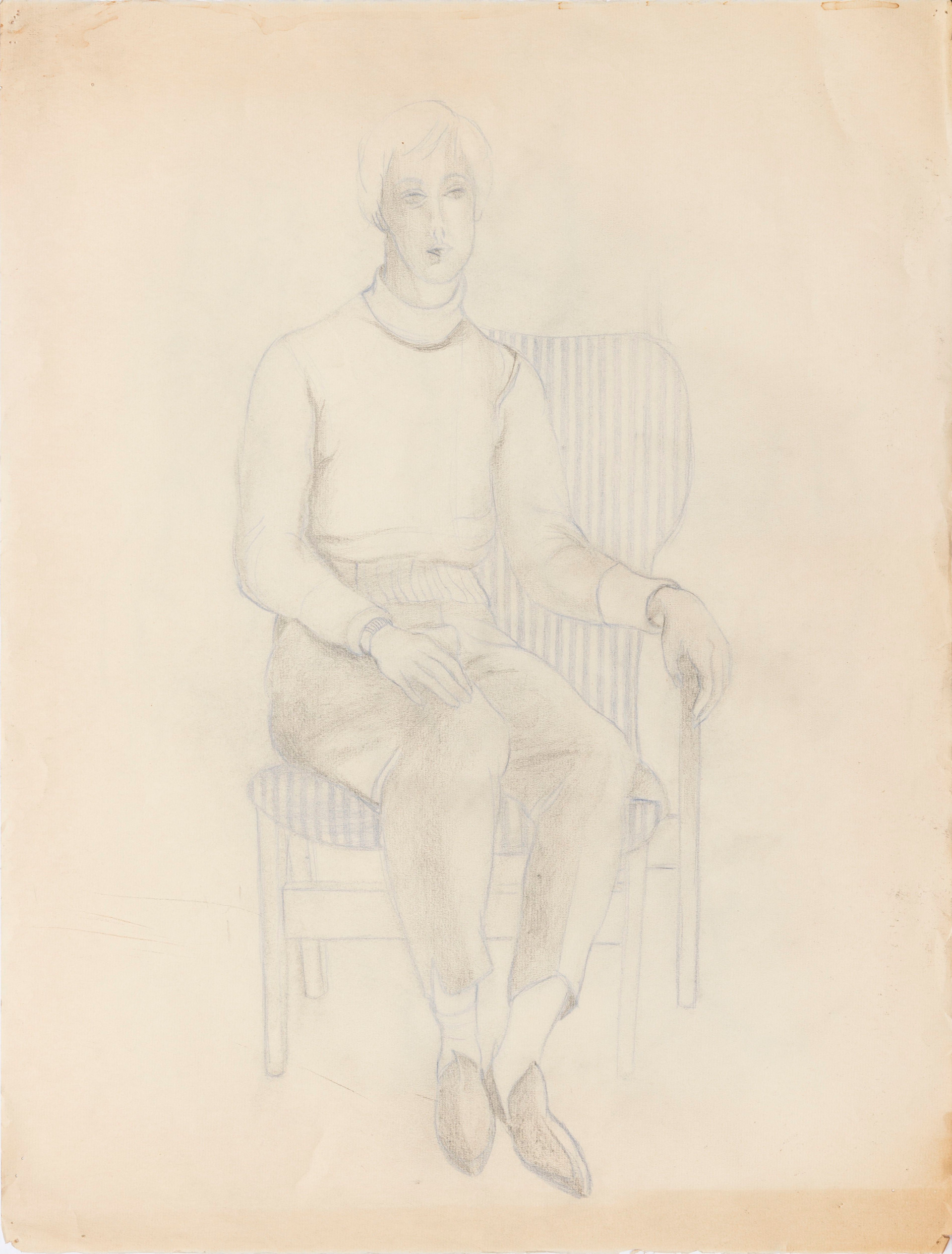 Untitled - figure sitting in chair with blue stripes