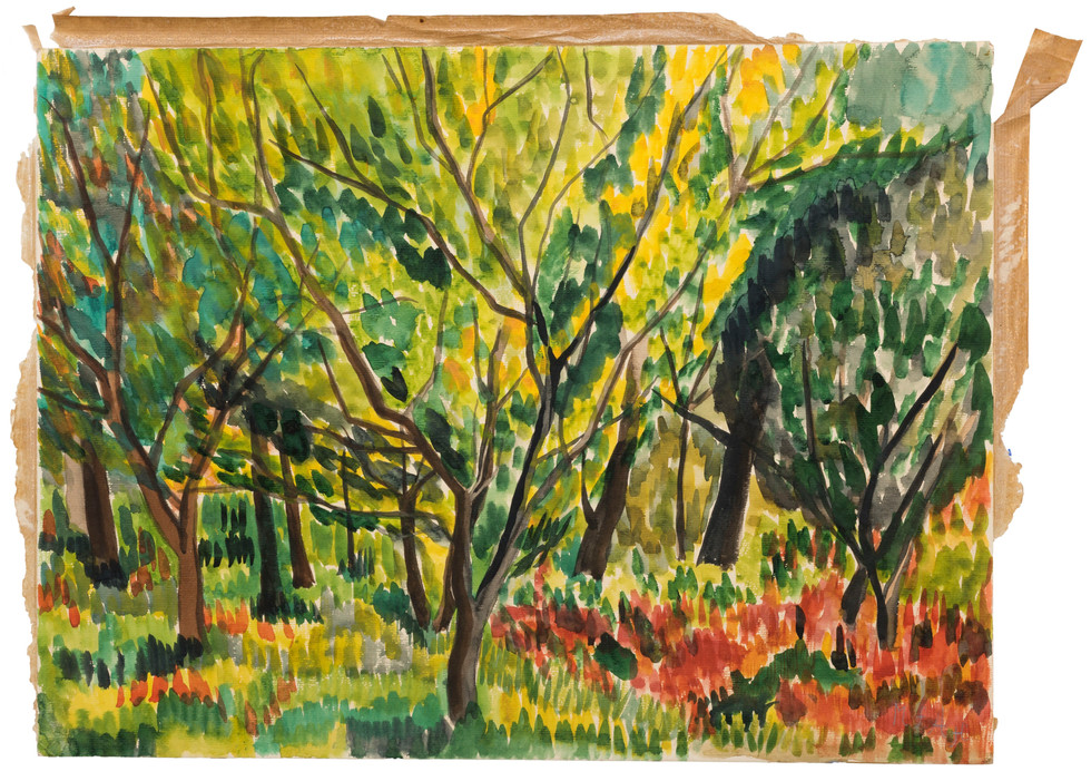 Untitled - green trees and red grass