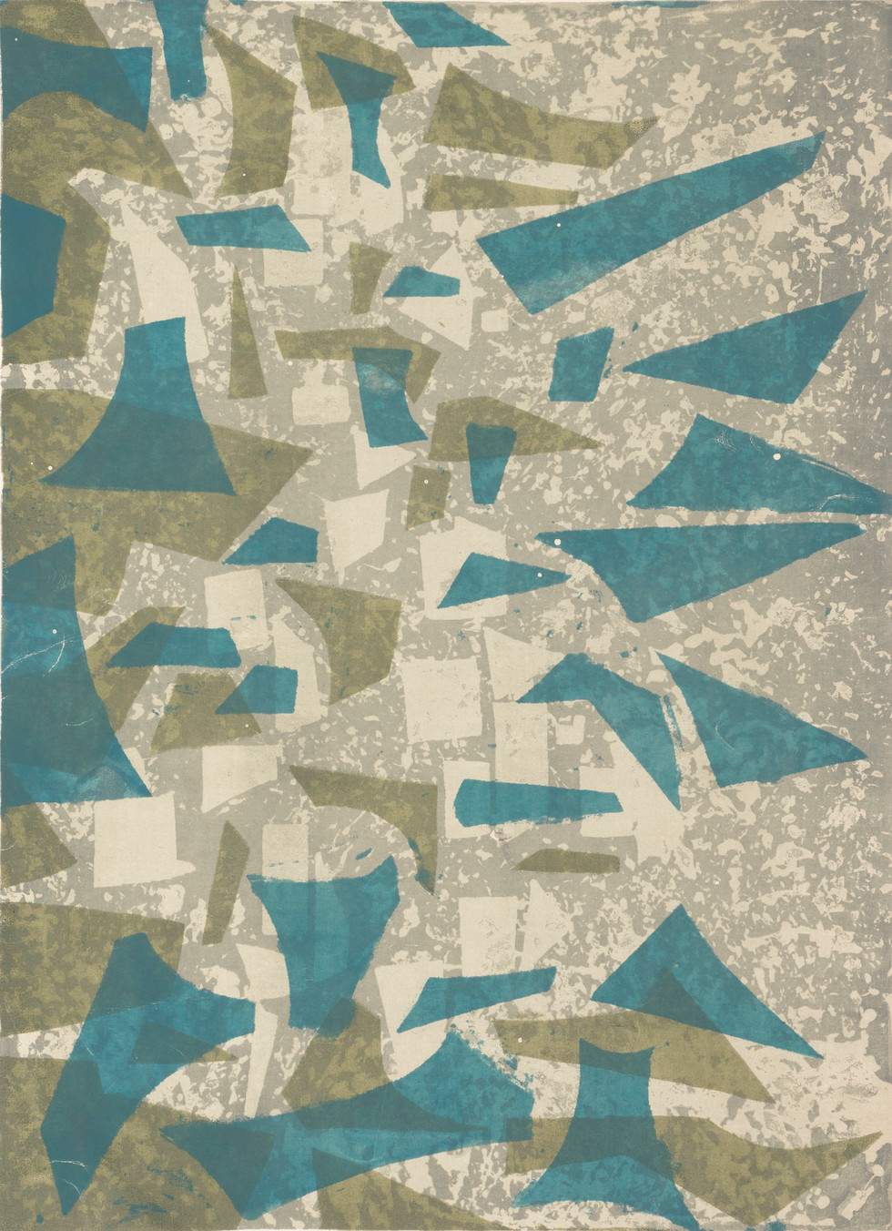 Untitled - abstract blue and green shapes on light brown and gray background