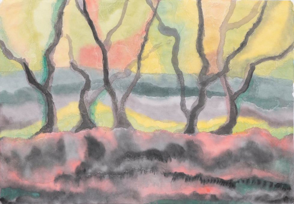 Untitled - black bare trees on pink ground with yellow and pink sky