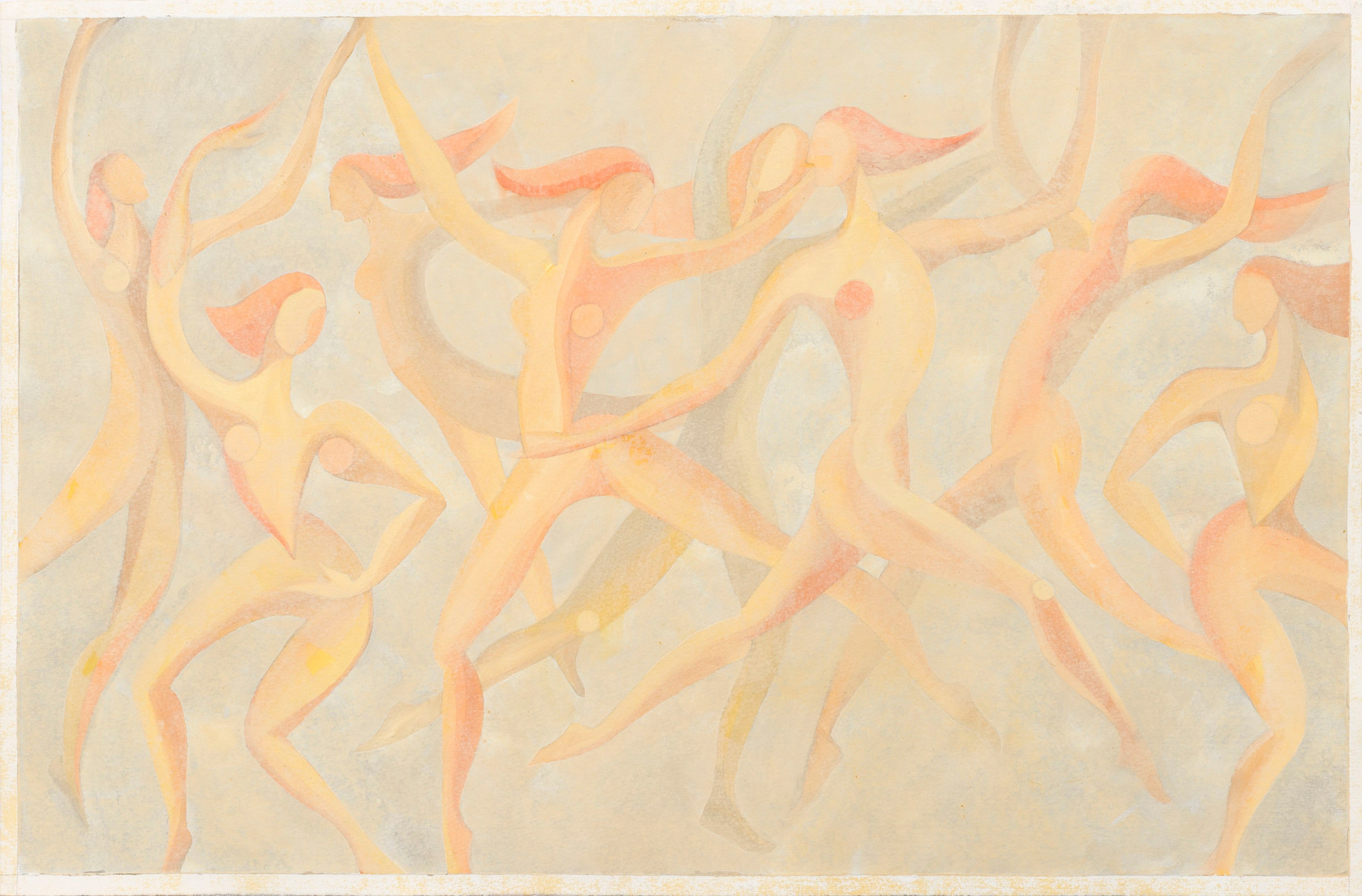 Untitled - nude female figures dancing (light orange)