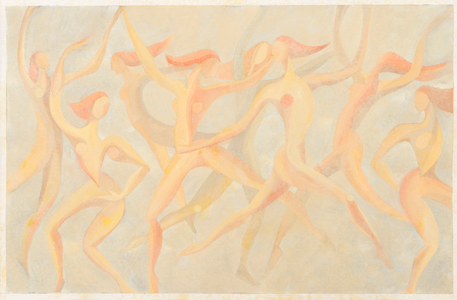 Untitled - nude female figures dancing (light orange)