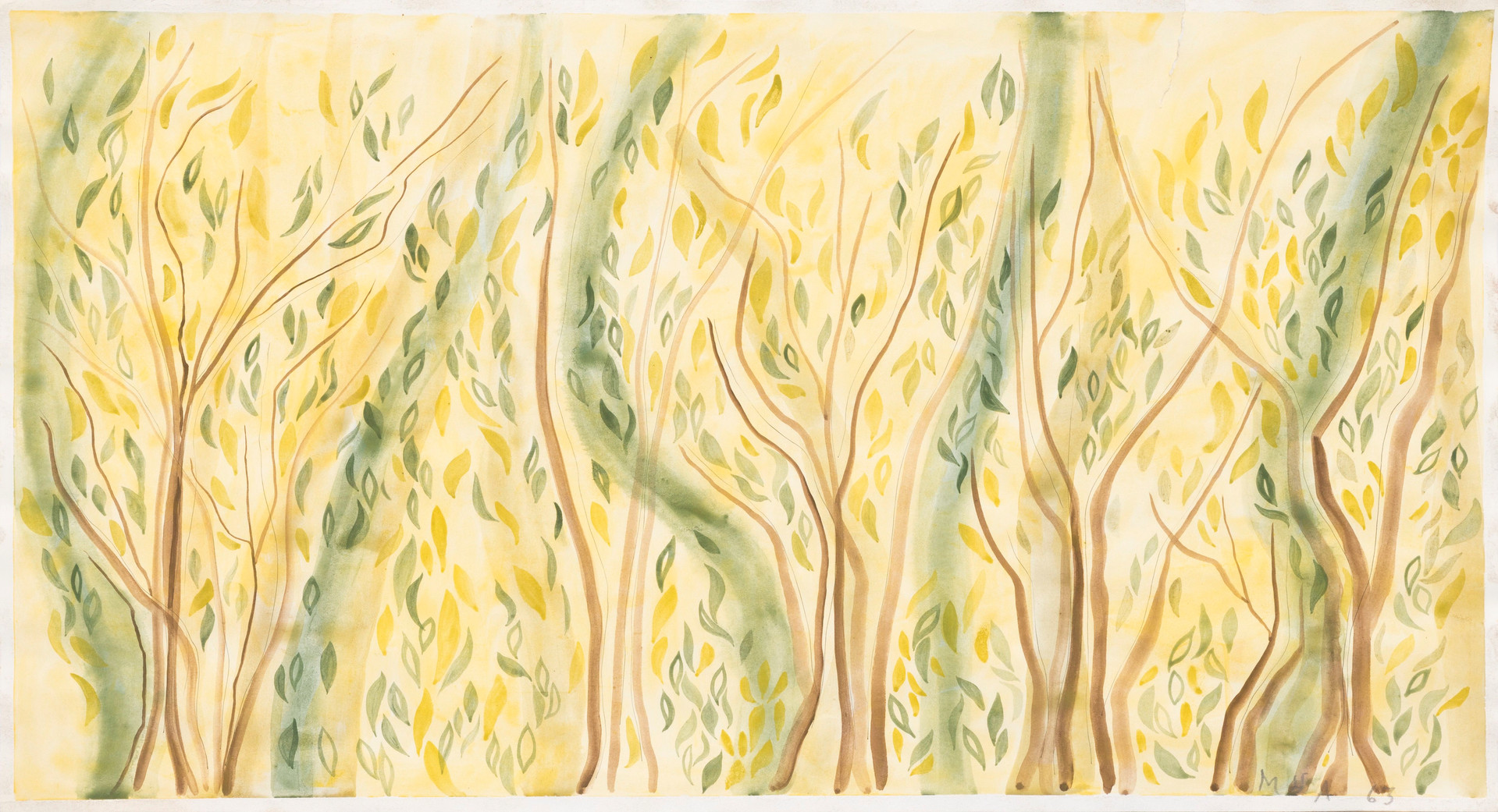 Untitled - trees with abstract leaves on yellow background