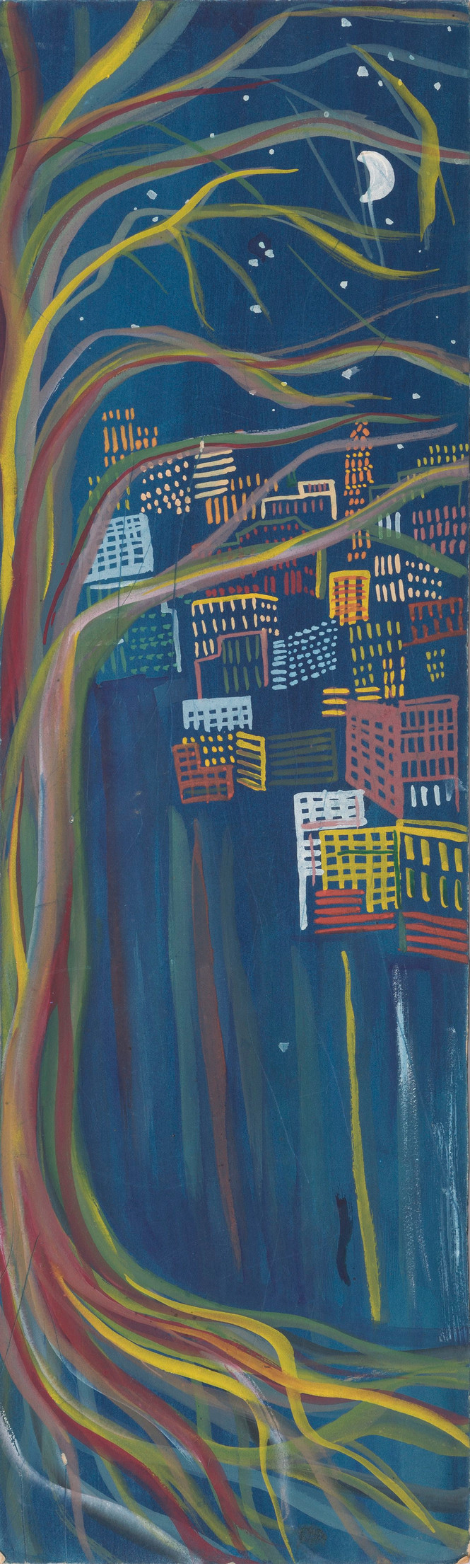 Untitled - cityscape with big tree at night