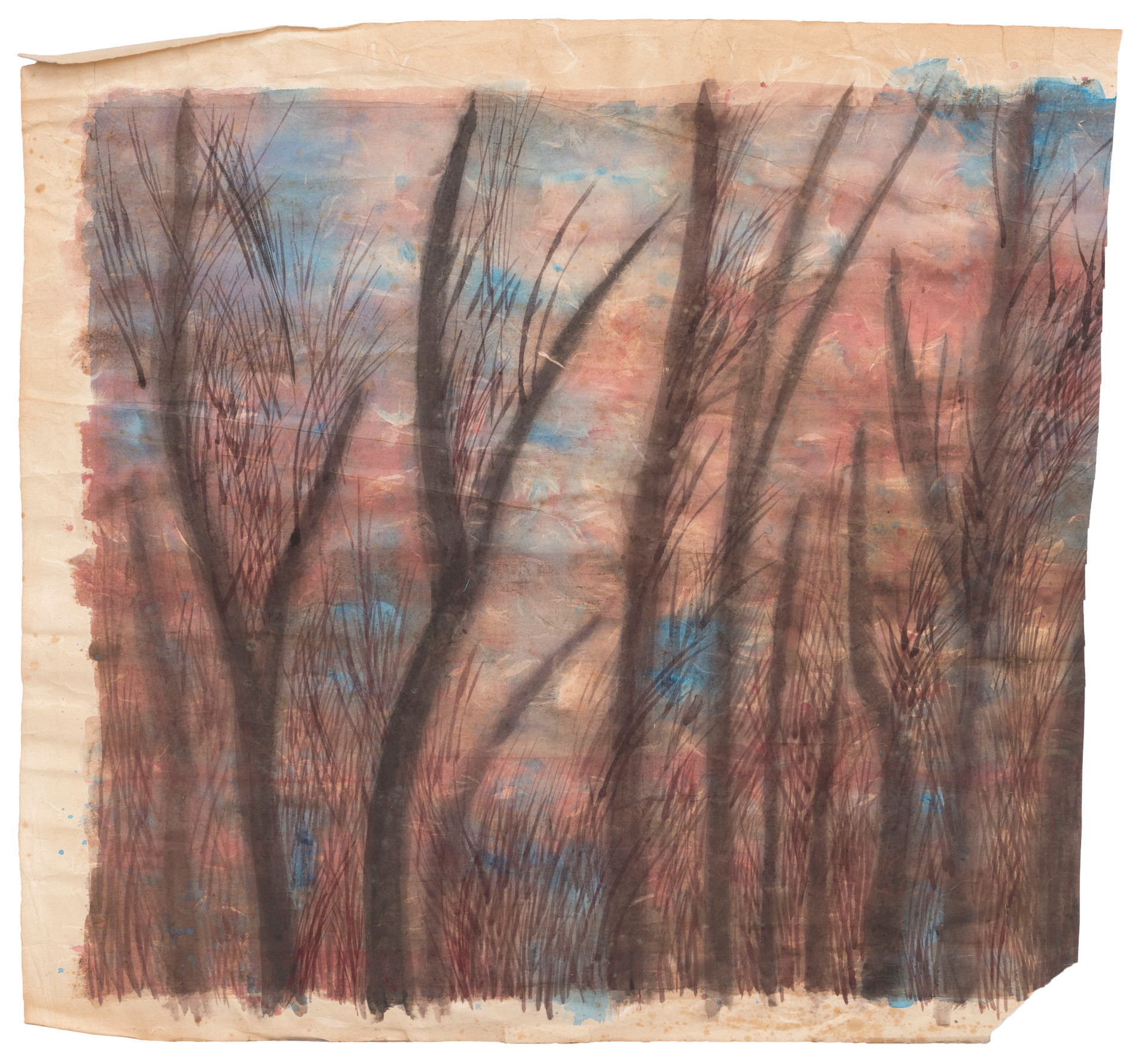 Untitled - brown trees on pink and blue background