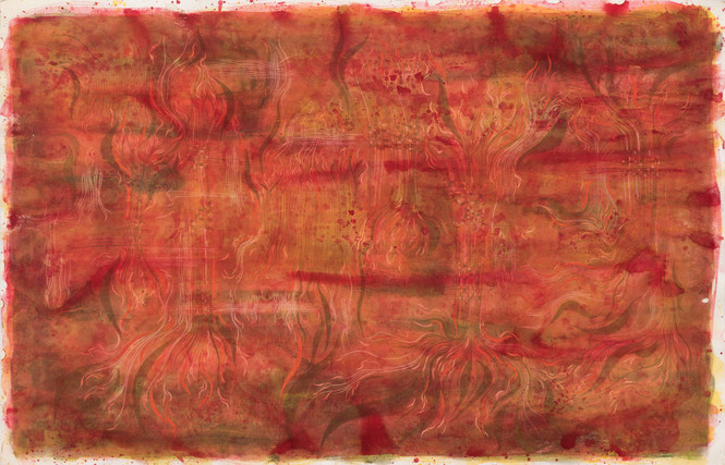 Untitled - red background with abstract trees