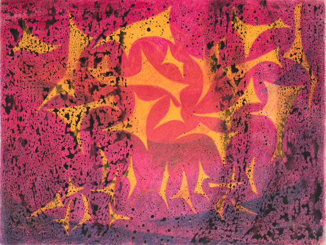 Untitled - yellow star shapes on hot pink