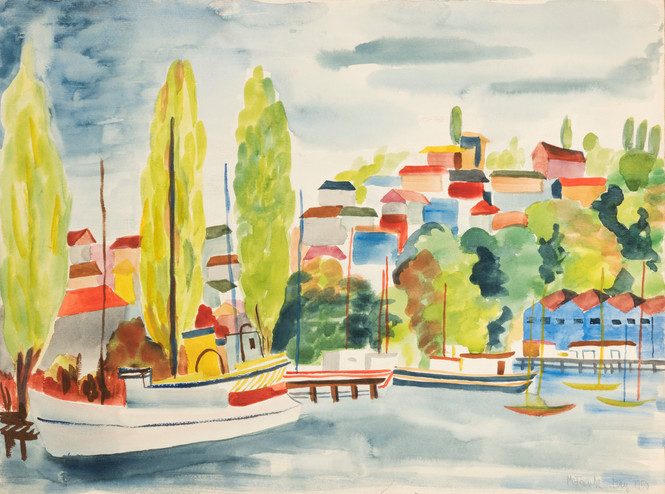 Untitled - sail boats and cityscape