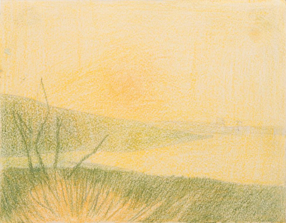 Untitled - green field, orange sky and orange water