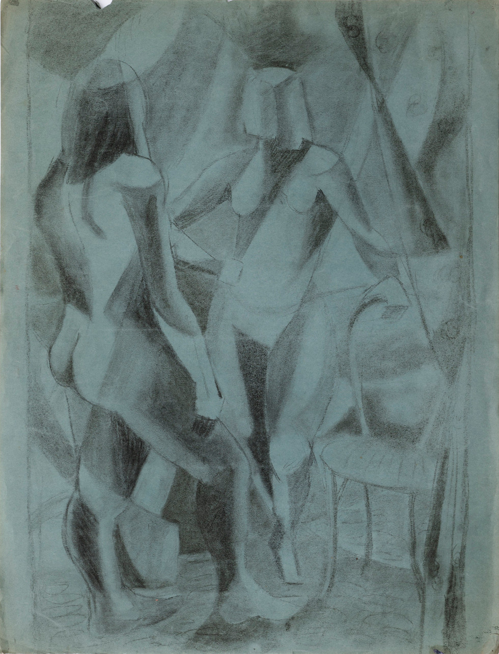 Untitled - two nudes with chair and curtain on blue paper