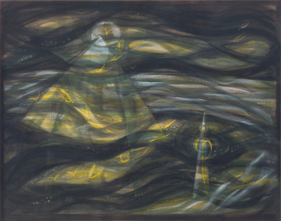 Untitled - yellow figure and birds in dark night