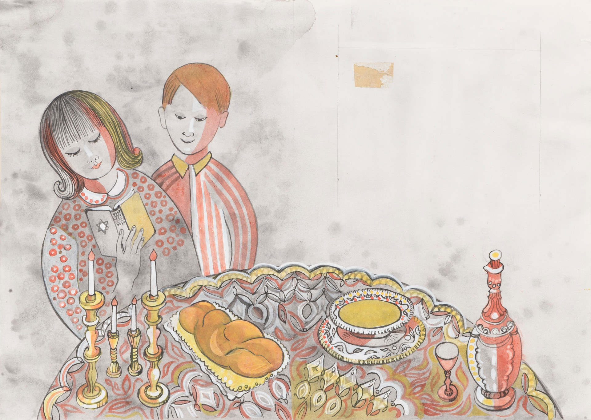 Untitled illustration P6, P7 (boy and girl at Sabbath table with prayer book)