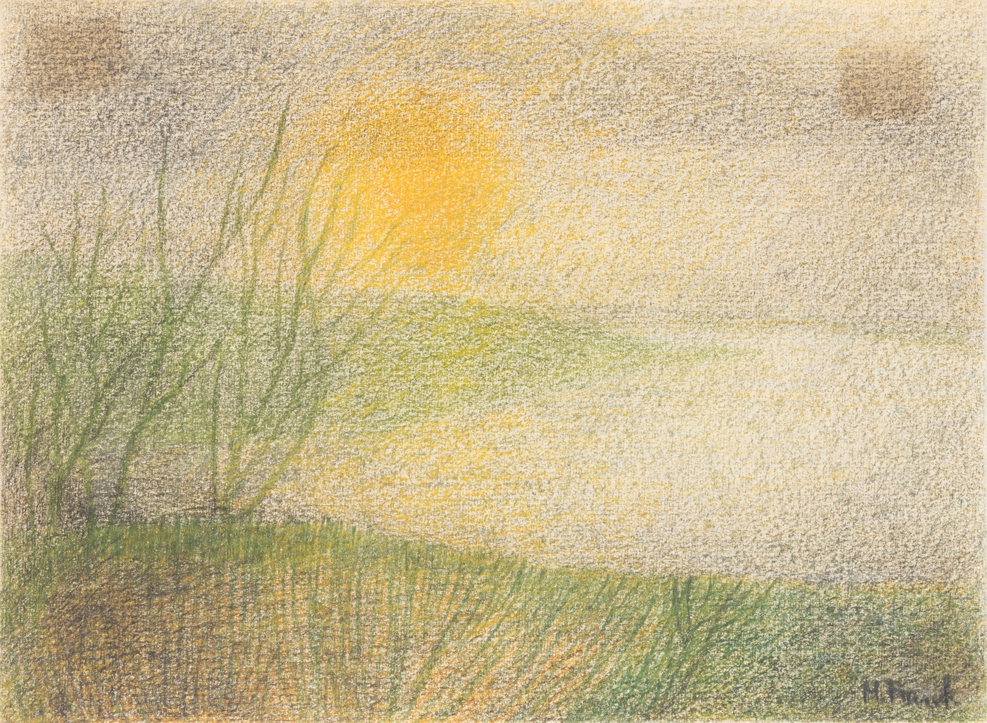 Untitled - sunset next to water and green field