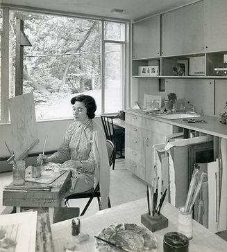 Mari Frank Abrams in her studio, ca.1950
