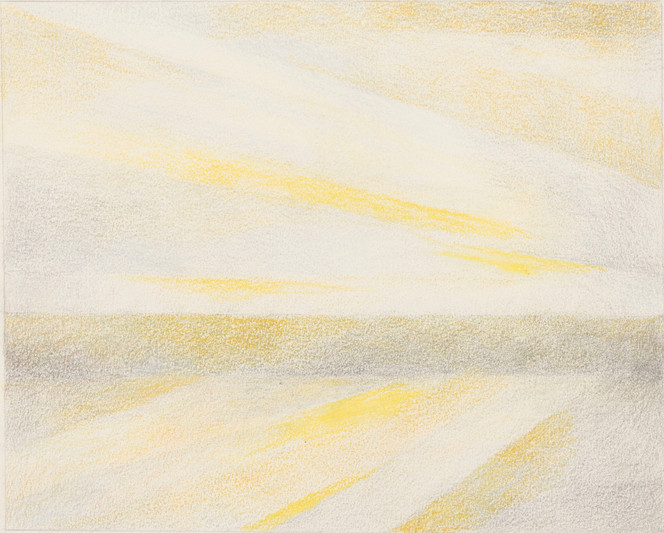 Untitled - yellow light beams over field