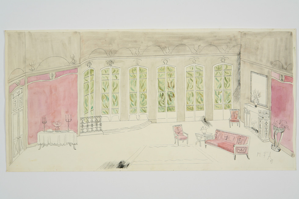 Scene design for Violetta's drawing room in La Traviata