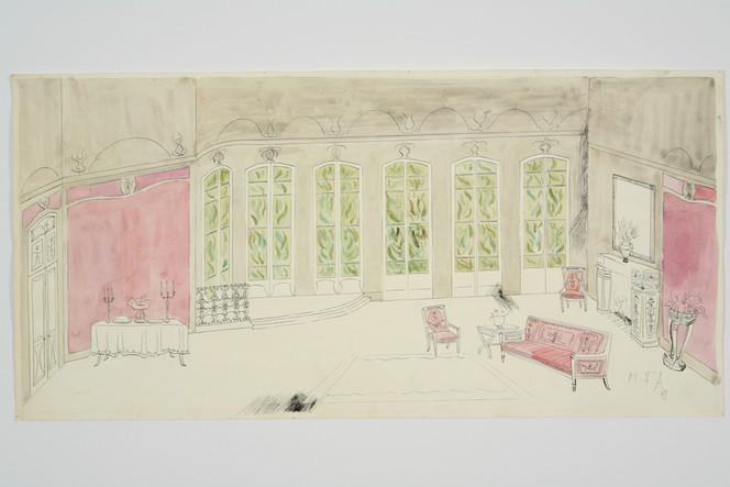 Scene design for Violetta's drawing room in La Traviata