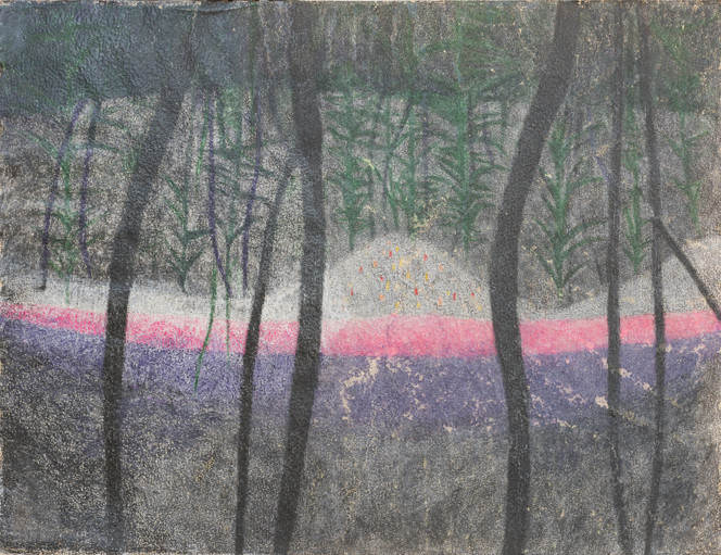 Untitled - pink and purple stripes through dark woods
