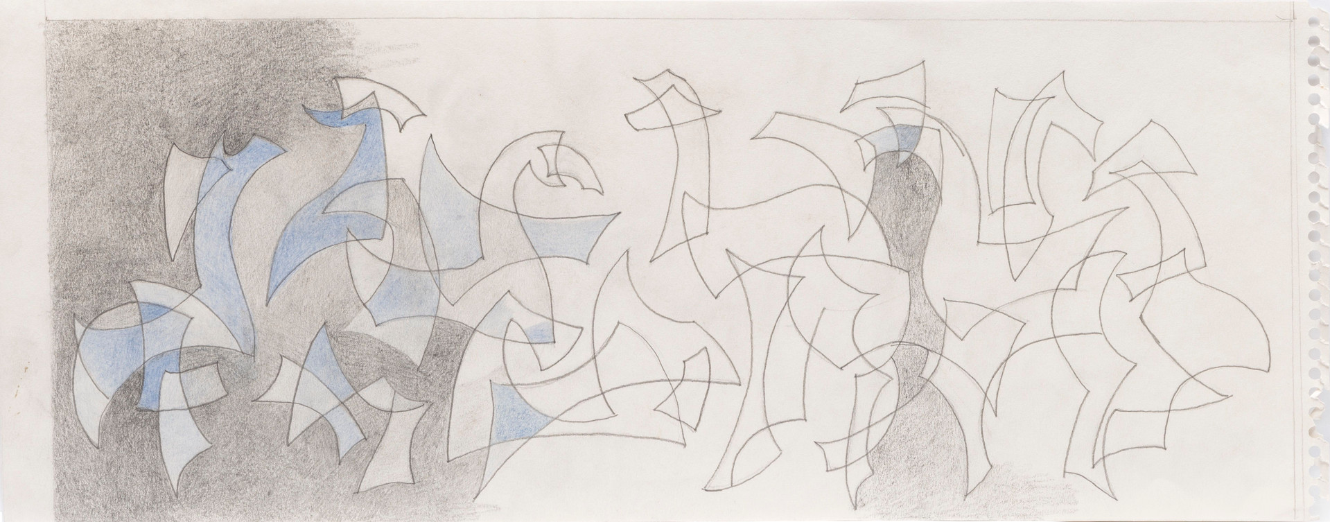 Untitled sketch - 1 out of 2 sketches of abstract geometric shapes (partially colored)