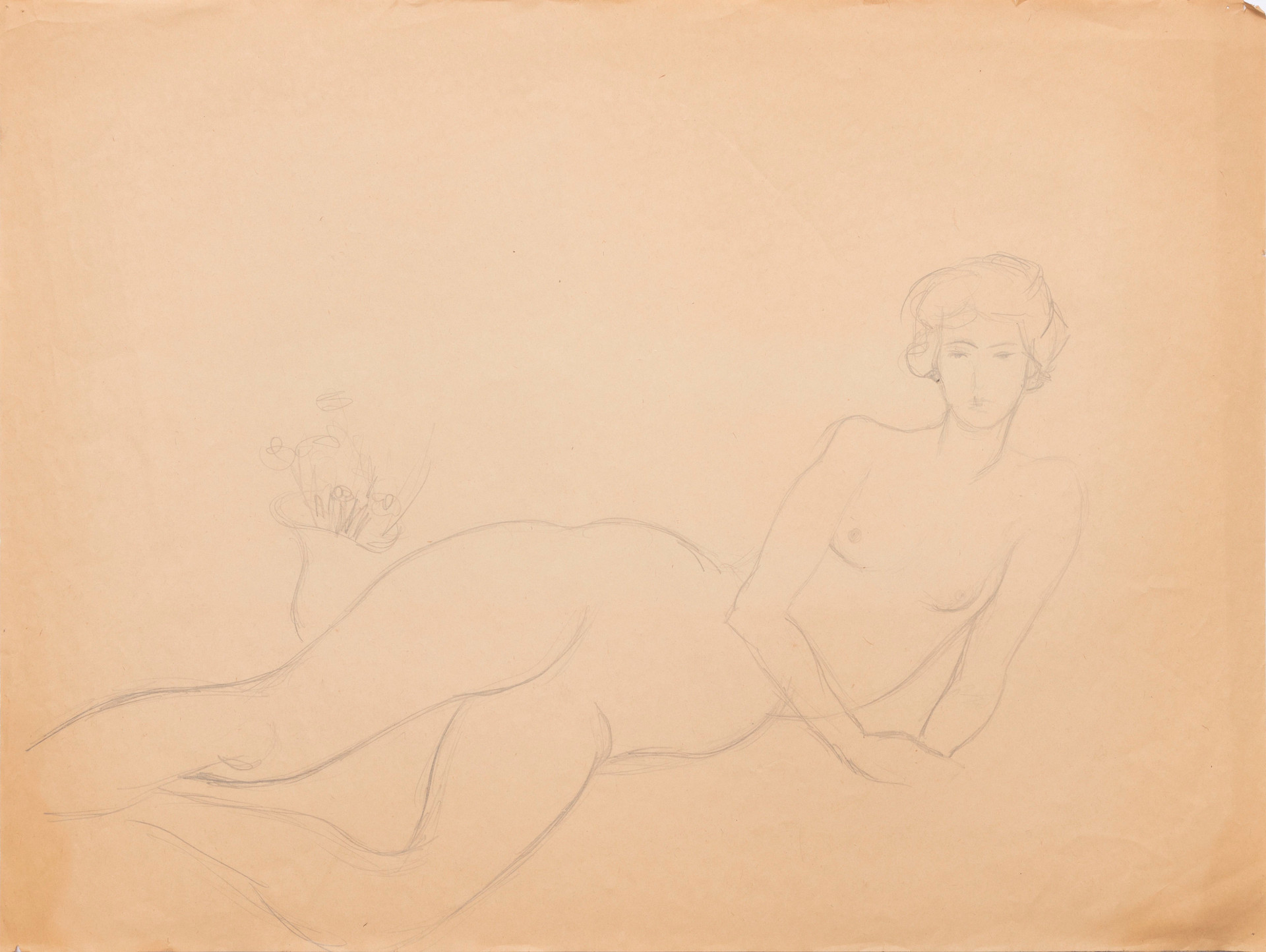 Untitled sketch - lying female nude with a vase of flowers