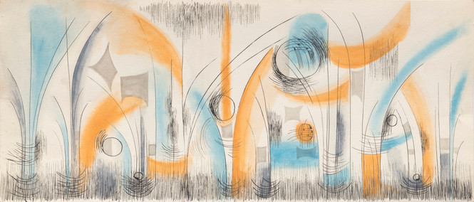 Untitled - orange and blue fountains
