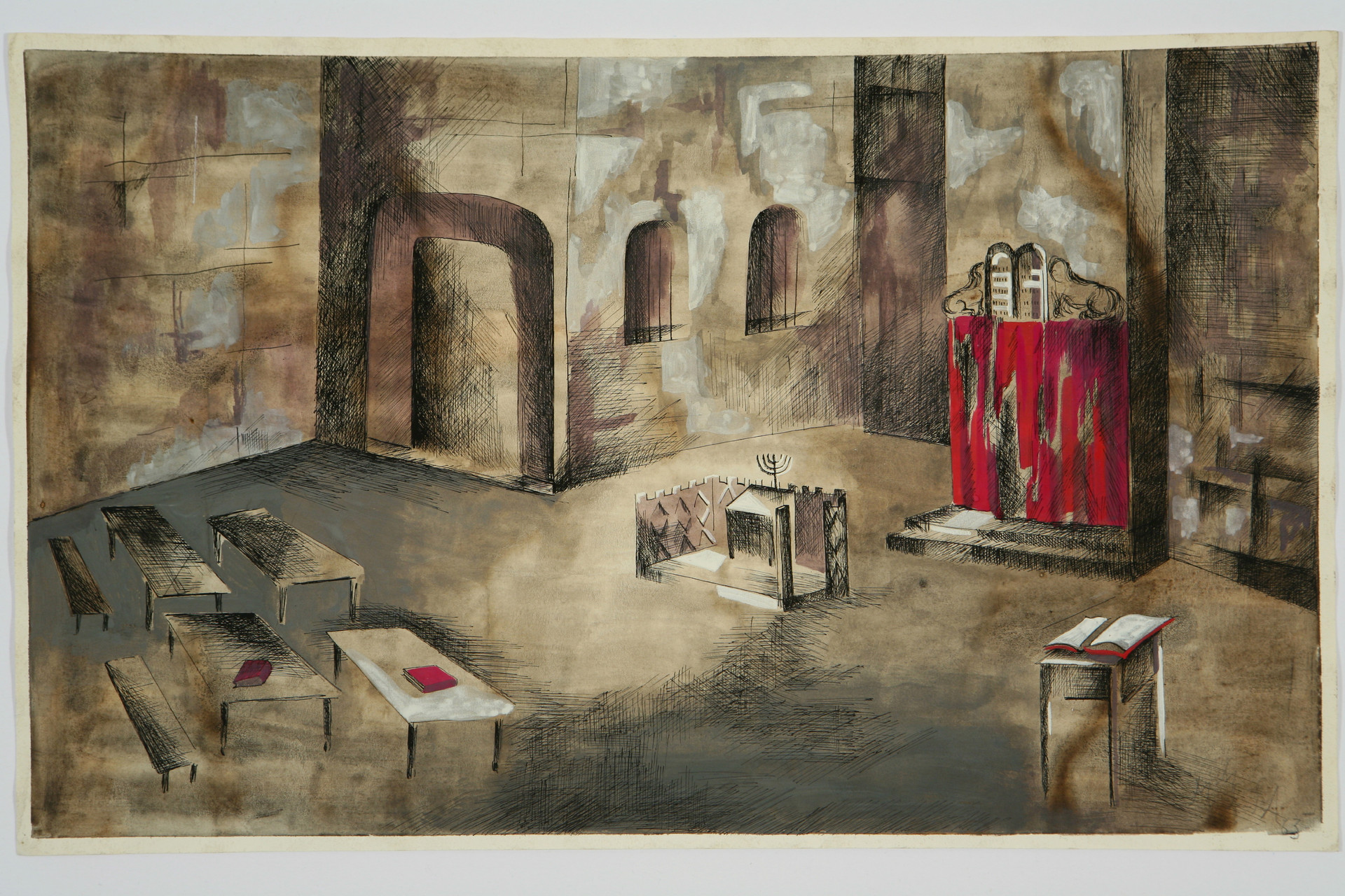The Dybbuk, preliminary study for set design - Interior of synagogue, Act III, Scene 2