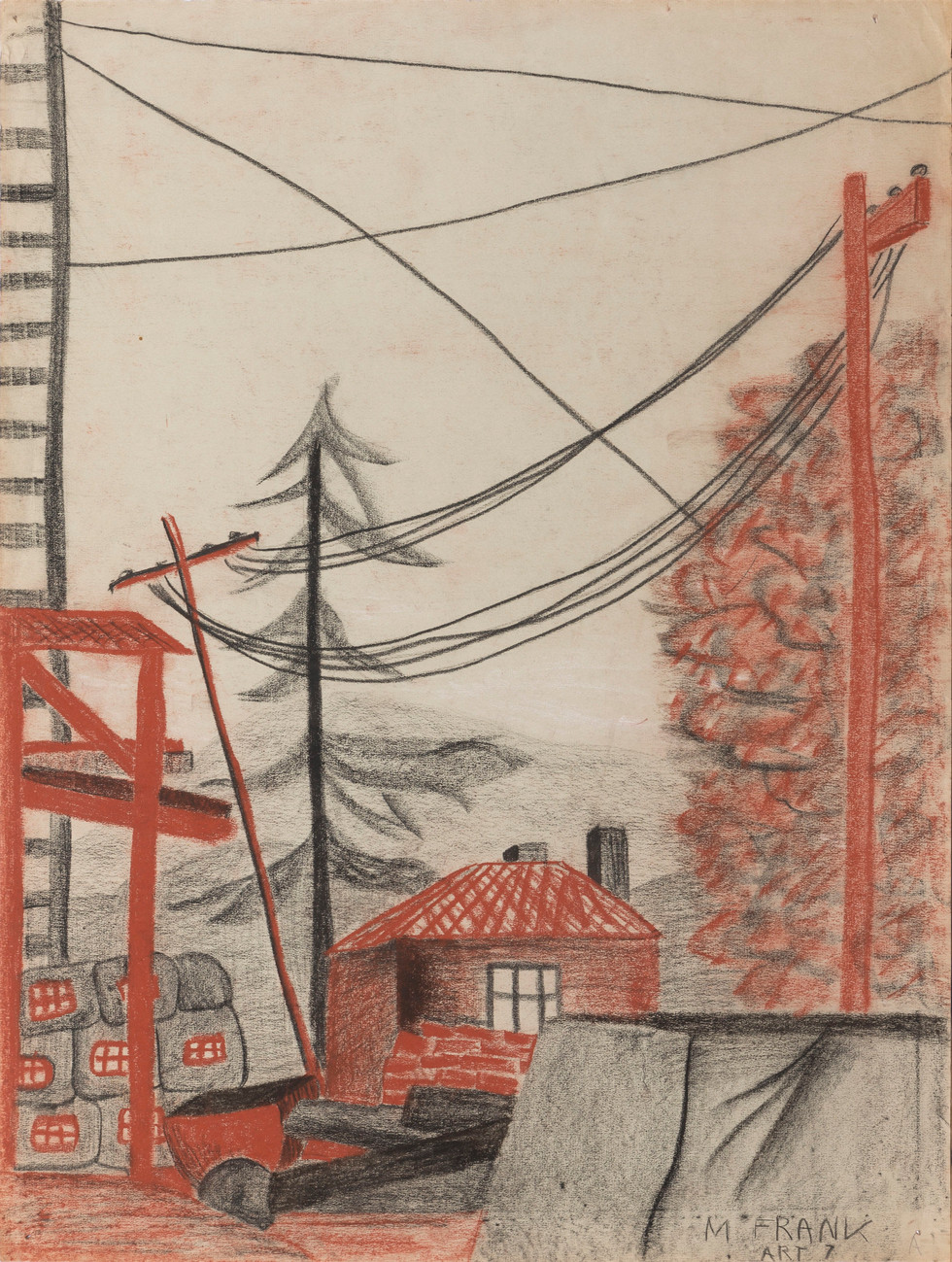 Untitled - red house and telephone poles
