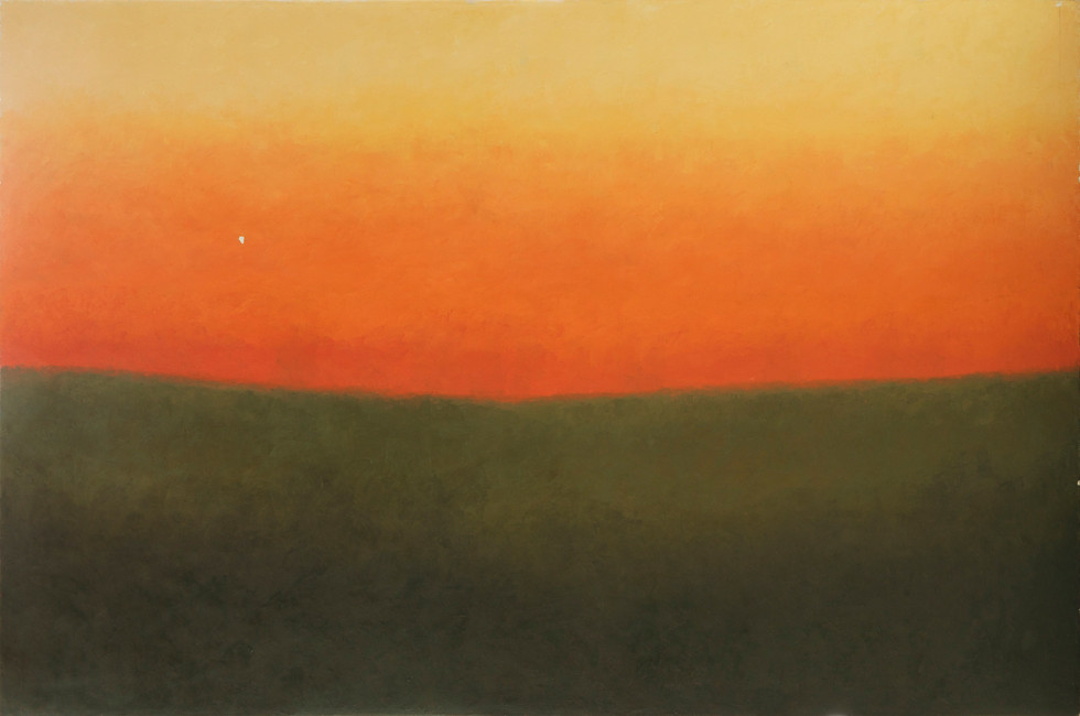 Untitled - orange sky and brown field