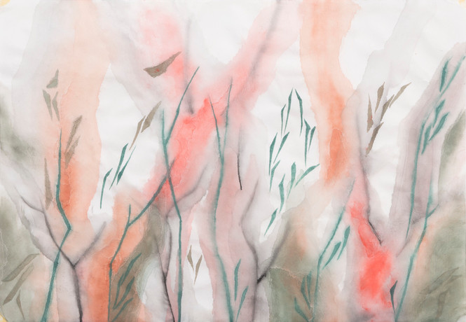Untitled - green branches with orange and pink shadows