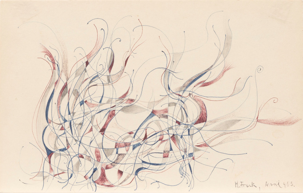 Untitled - small abstract drawing with red, blue and gray curvy lines