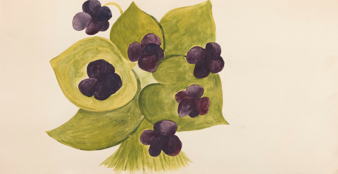 Untitled sketch - purple flowers and green leaves