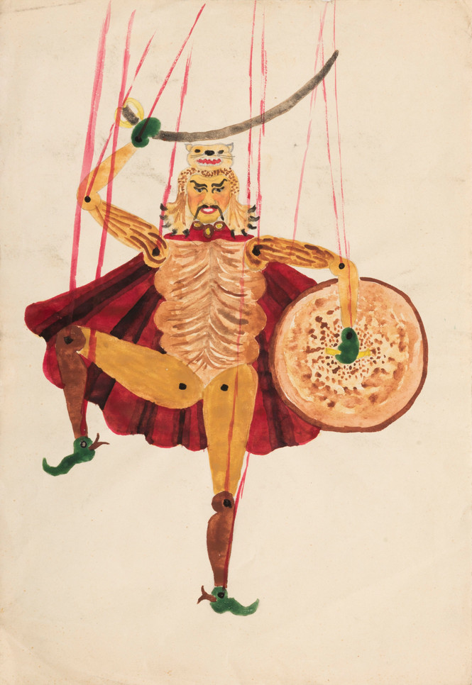 Untitled - puppet with red cape, sword and shield