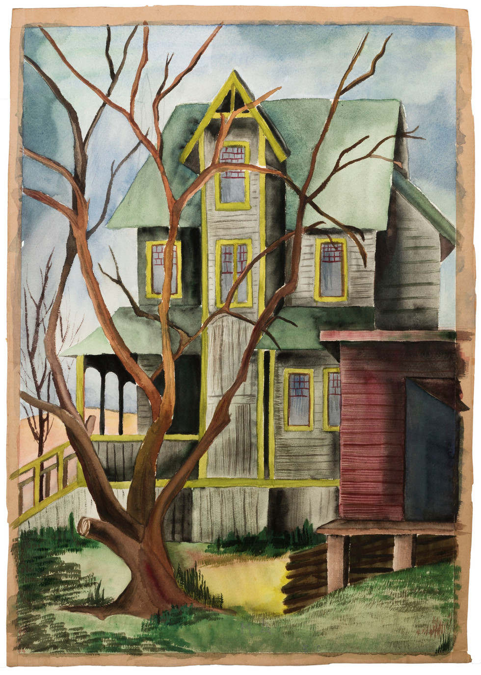 Untitled - house with green roof and a bare tree